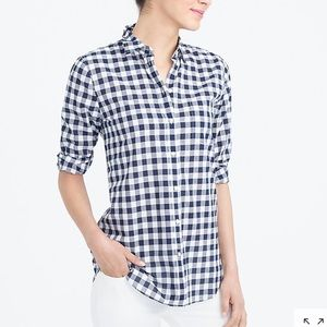J. Crew Navy Cotton Gingham Button Front Shirt